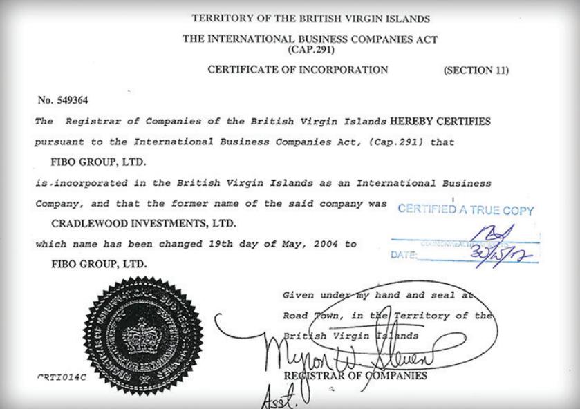 Регистрация Fibo на BVI