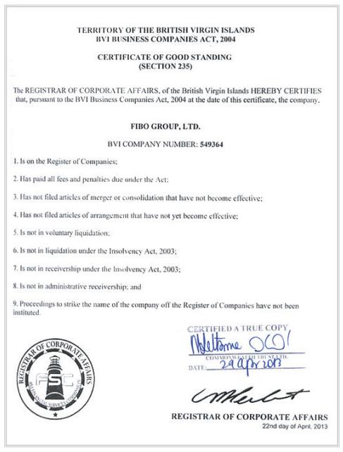 Сертификат хорошего состояния Fibo Group