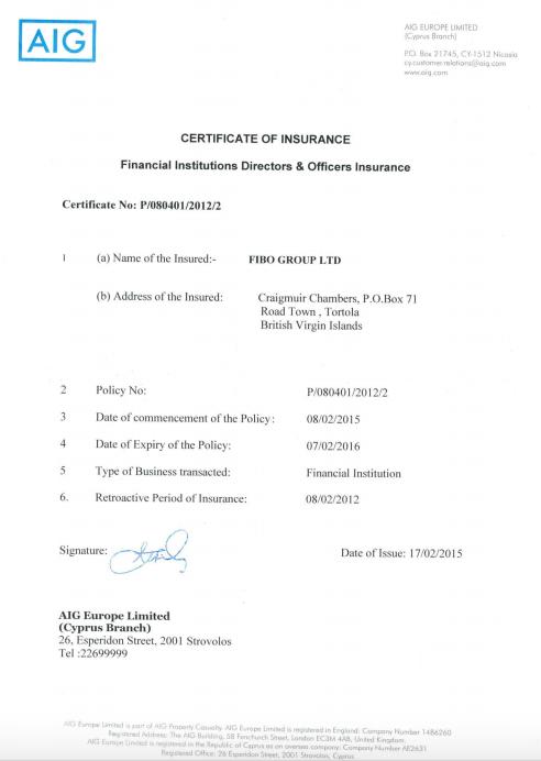 Свидетельство о страховании Fibo, Фибо