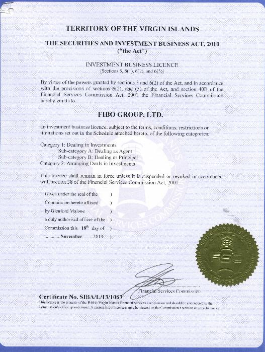 Лицензия FIBO BVI на инвест услуги, Фибо, инвестиции, ДУ, доверительное управление