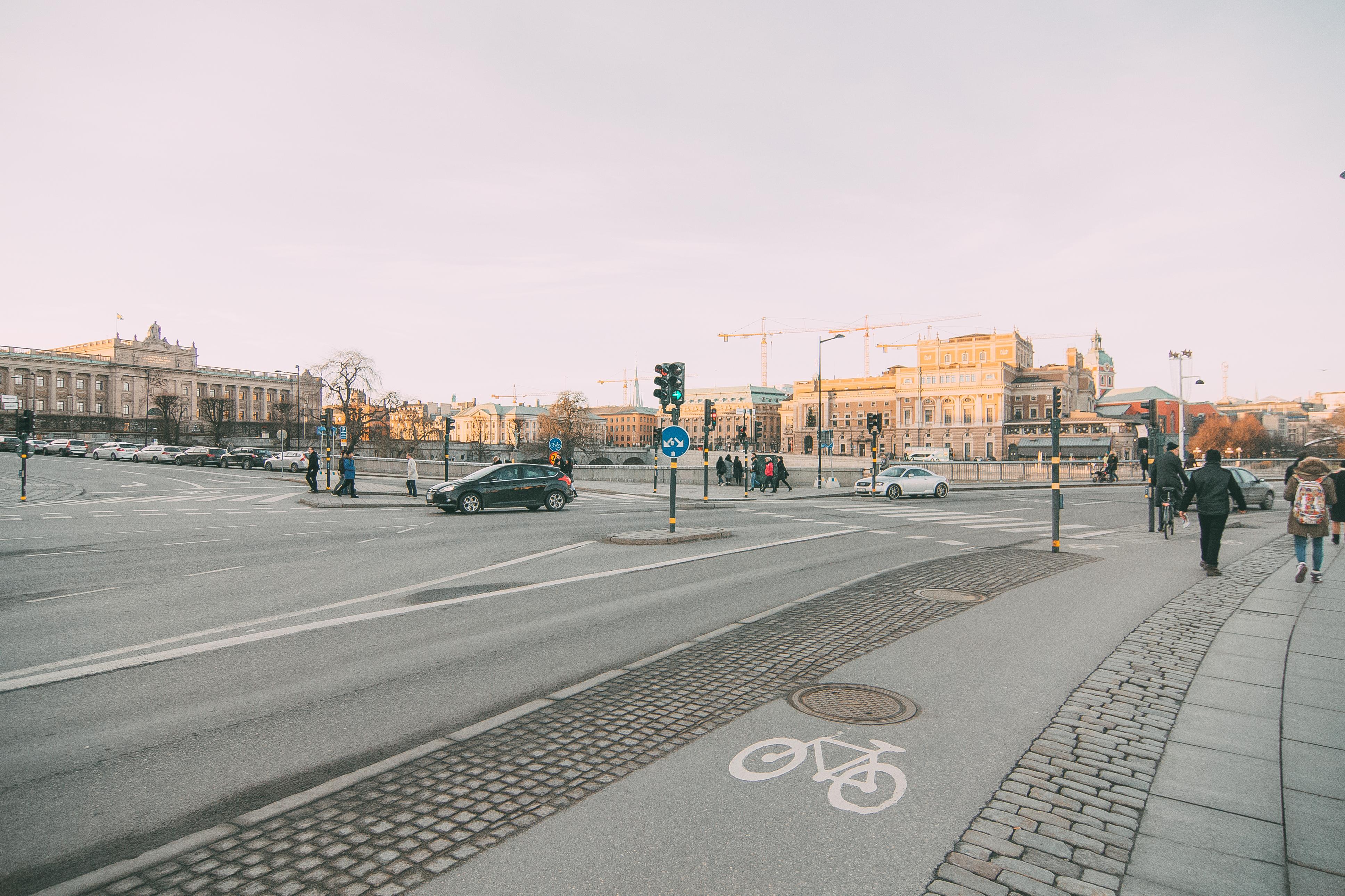 Улицы стокгольма, велодорожка, Стокгольм, Швеция
